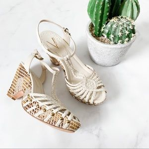 Vince Camuto Strappy Wicker Sandals / Heels
